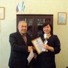 Вручение адвокату Михановой О.В. Почетной грамоты бюро и Переходящего кубка